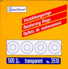 3510 Zweckform Verstärkungsringe Spender 13mm transparent, 500er Pack
