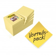 3M622SY Post-it Super Sticky Notes gelb 48x48 mm, 12er Pack