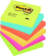 3M654TFEN 3M Post-it® Notes Active Collection 76x76mm, 6er Pack