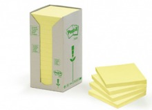 3M654-1T Post-it© Recycling Notes Tower, 16er Pack, gelb, 76 x 76 mm, 100 Blatt/Block